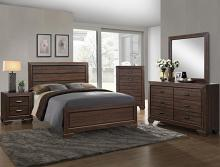 5 pc farrow chocolate finish wood with wood grain look queen bedroom set