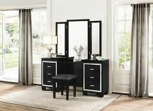 Homelegance 1916BK-14-15 3 pc Allura black with faux alligator finish wood bedroom make up vanity set