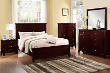 Poundex F9174 5 pc hampton iii medium cherry brown finish wood queen bed set