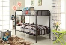 Acme 37535 Bristol collection gunmetal finish metal frame twin over twin bunk bed set