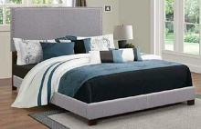 350071Q Muave II grey fabric upholstery queen size bed set with nail head trim