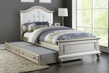Poundex F9378 2 pc Trista collection silver finish wood twin trundle bed white tufted headboard