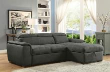 2 pc Patty collection graphite fabric upholstered sectional sofa set with pull out bed base and storage chaise