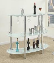 Poundex F2059 3 tier moderna white glass and chrome metal bar table with glass racks