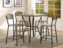 CM1730SET-GY 5 pc Blake faux finish wood top round counter height dining table set