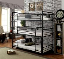 Furniture of america CM-BK912T Olga I collection triple twin bed twin over twin over twin antique black metal frame industrial bunk bed