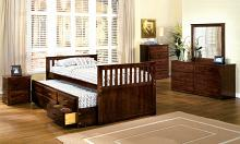 Montana cherry finish wood mission style platform captain twin size bed with trundle and drawers