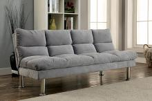 Saratoga i contemporary style design light gray finish microfiber pillow top futon sofa