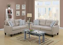 Poundex F6534 2 pc Breakwater bay wolfram beige glossy polyfiber fabric sofa and love seat set