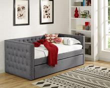 5335-GY Trina grey fabric upholstered nail head trim twin day bed with trundle