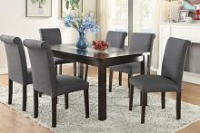 Poundex F2366-1543 7 pc avenue ii collection espresso finish wood table with glass insert and blue grey chairs