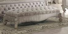 Acme 96540 Versailles bone white finish wood ivory fabric button tufted bench