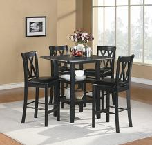 5 pc norman collection black finish wood counter height dining table set with upholstered seats