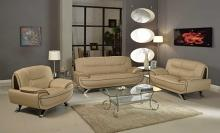 2 pc Shirley II collection modern style beige genuine leather upholstered sofa and love seat set