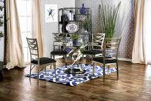 5 pc roxo collection modern style satin plated metal and round glass dining table with black fabric chairs