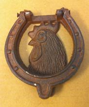 Cast iron rooster face door knocker