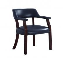 411N Blue vinyl upholstered seat , back and arms captains guest chair espresso finish wood