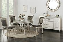 Poundex F2428-1705 5 pc Silverstry silver finish wood round dining table set glass