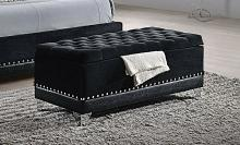 Black metallic velvet upholstered storage bench with nail head trim