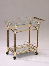 Mace golden brass plated metal finish and burl wood design tempered glass shelves tea serving cart with casters