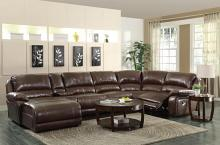 600357 6 pc mackenzie chestnut bonded leather match motion sectional sofa set with chaise and recliners
