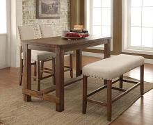 CM3324PT-4pc 4 pc sania natural tone finish wood counter height dining table set with padded chairs