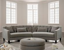 Furniture of america CM6370 2 pc sarin warm gray chenille fabric curved back sectional sofa