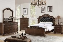 Poundex F9386-4926-27-28-29 5 pc Palisades II collection dark brown finish wood with tufted headboard queen bedroom set