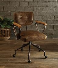 Acme 92410 Hallie vintage whiskey top grain leather office chair with casters
