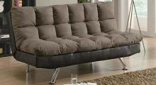Flaxen collection two tone brown microfiber and leatherette upholstered folding futon sofa bed with chrome legs