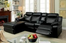 2 pc hardy collection black faux leather upholstered sectional sofa with chaise and recliner