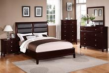 Poundex F9175 5 pc manhattan ii medium cherry finish wood queen padded headboard bed set