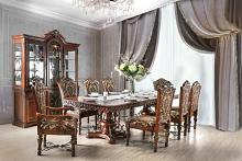 CM3788T-7pc 7 pc Lucie cherry brown finish wood double pedestal ornate accents dining table set