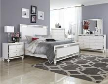 Home Elegance 1845-5PC 5 pc alonza collection brilliant white embossed alligator finish wood bedroom set