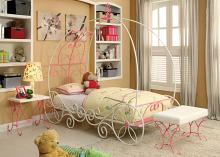 Furniture of america CM7705 Enchant collection pink and white finish twin metal frame princess carriage style canopy bed frame