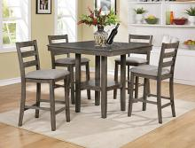 CM2630SET-GY 5 pc Gracie oaks grey brown finish wood counter height dining table set