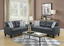 2 pc Collette II collection charcoal glossy polyfiber fabric upholstered sofa and love seat set