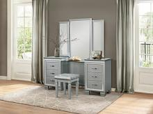 Home Elegance 1916-14-15 3 pc Allura silver with faux alligator finish wood bedroom make up vanity set
