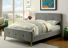 Barney collection gray padded flannelette fabric queen bed set