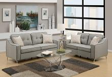 Poundex F6892 2 pc Sampson light grey linen like fabric sofa and love seat set