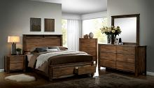 Furniture of america CM7072 5 pc Elkton collection antique oak finish wood queen panel bedroom set