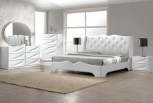 4 pc madrid white lacquer finish wood modern style queen bed set with silver accents and button tufting