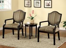 CM-AC6026-3PK 3 pc Bernetta fabric and espresso wood finish accent chairs and accent table set