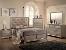 B4390 4 pc lila champagne finish wood tufted queen bedroom set