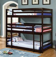Triple twin collection espresso finish wood triple twin over twin over twin bunk beds