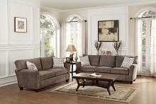 Home Elegance 8225-SL 2 pc alain collection grey fabric upholstered sofa and love seat set with accented piping trim