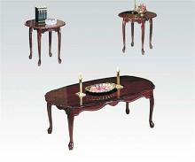 3 pc essex collection cherry finish wood coffee table and end tables