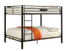 CM-BK939QQ Claren black finish metal frame contemporary style queen over queen bunk bed set