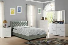 Poundex F9373Q 4 pc Janelle silver faux leather tufted queen bed set