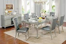 CM3229T-7PC 7 pc sarina silver finish wood with tempered glass inserts dining table set